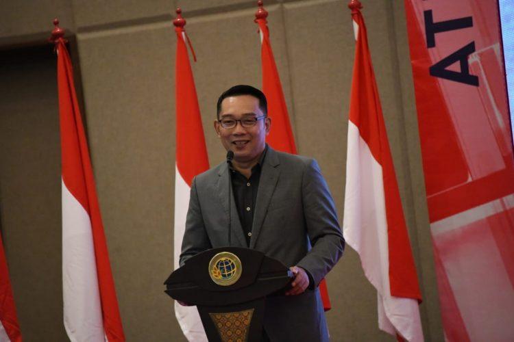 Foto: Gubernur Jawa Barat Ridwan Kamil saat menghadiri Rapat Kerja Daerah (Rakerda) Tahun 2020 Kantor Wilayah (Kanwil) Badan Pertahanan Nasional (BPN) Provinsi Jawa Barat di Hotel Manson Pine, Kabupaten Bandung Barat.